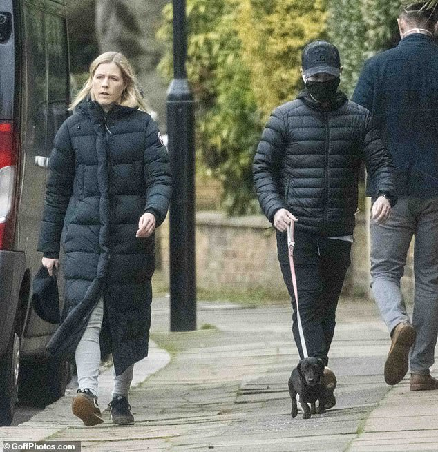 Dressing: Joining her husband, talent manager Ali, 42, looked equally relaxed in a three-quarter-quilted coat and skinny jeans