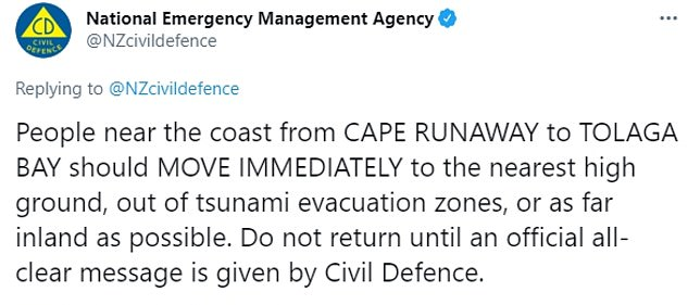 New Zealand's emergency management agency told people living in a 100-mile stretch of coast to move inland or to high ground as soon as possible