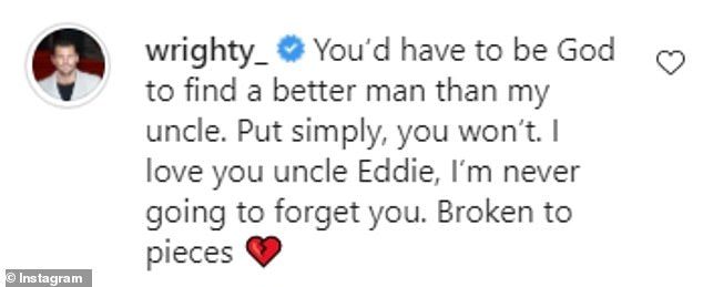 Moving: Mark also shared a tribute to his uncle Edward in a comment under Elliott's post