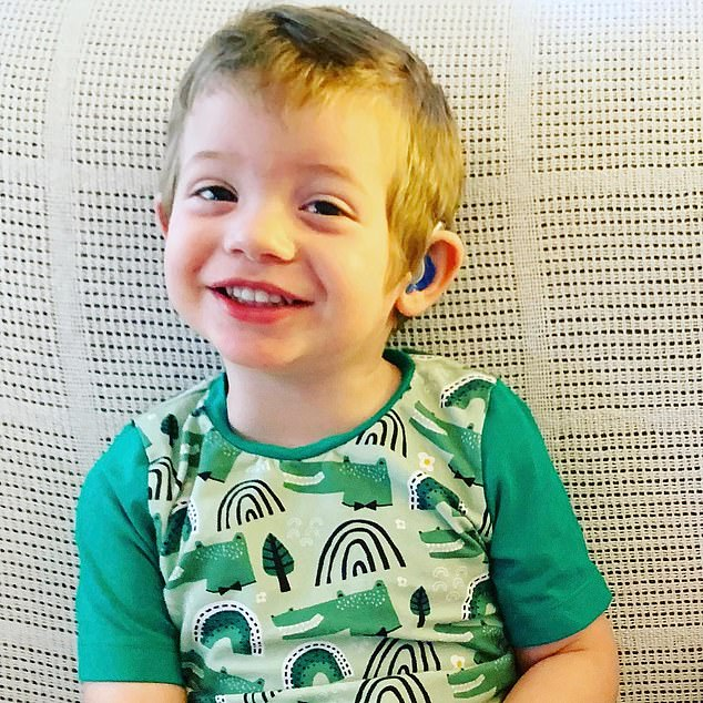 Harrison, who is now two-years-old can speak and form sentences like other children his age thanks to his hearing aids