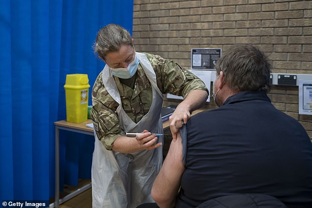 A member of the military administers the AstraZeneca Covid-19 vaccine at a mass vaccination centre at Holm View Leisure Centre on March 2 in Barry, Wales