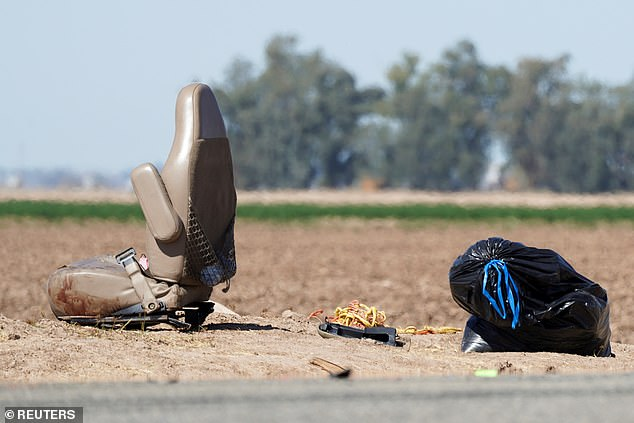 The impact of the crash ejected several passengers from the vehicle (car seat pictured above)
