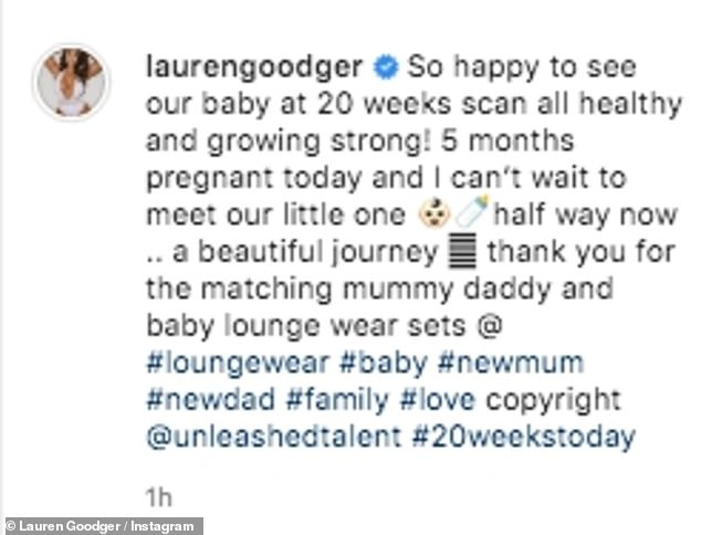 Mummy to be: The reality star wrote: 'So happy to see our baby at 20 weeks scan all healthy and growing strong! 5 months pregnant today and I canu2019t wait to meet our little one'