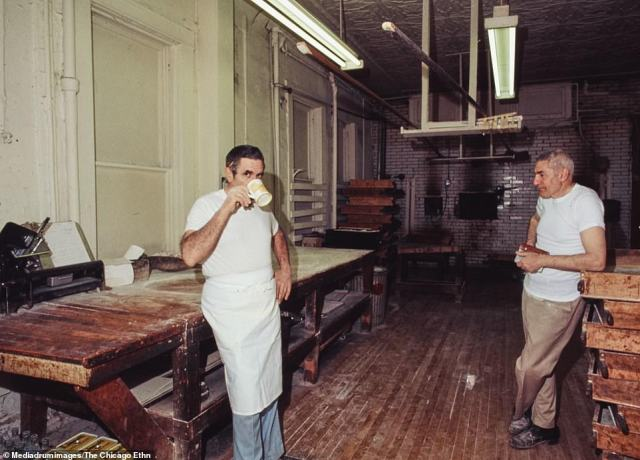 Italian bakers take a rest during Saturday morning bread baking at Al's Bakery, Loomis and Taylor Streets, Chicago