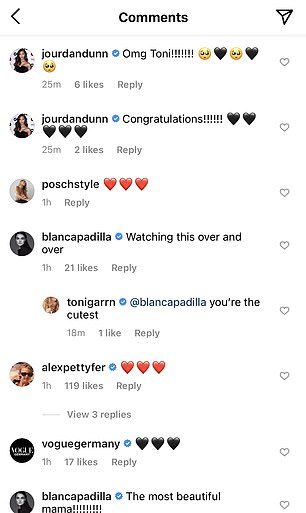 Sending love!  Jourdan Dunn, Blanca Padilla and her husband Alex were among the supporters who sent their love after Toni's announcement