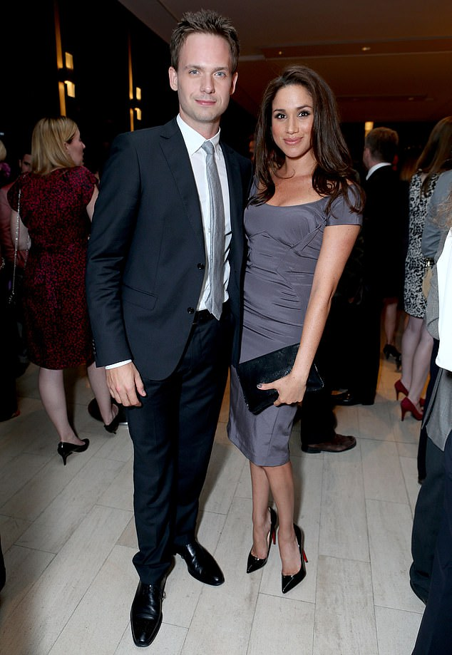 Meghan and Patrick (pictured in 2012) starred alongside one another in Suits for seven years and their characters, Rachel Zane and Michael Ross, got married at the end of season seven