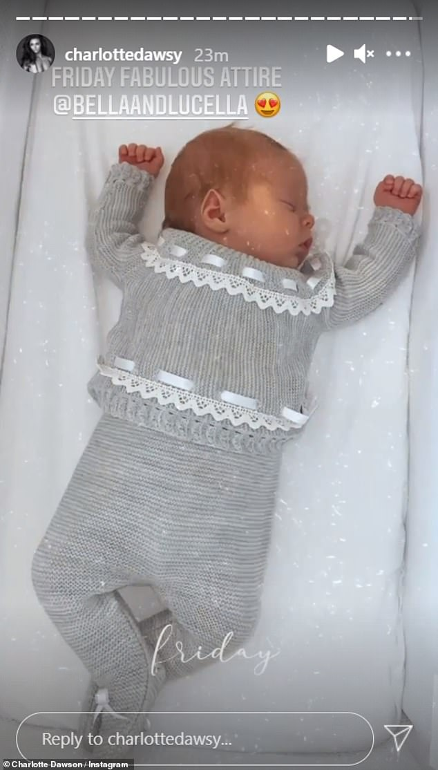 Peaceful: Charlotte later shared a snap of baby Noah in a dark grey outfit which boasted lace and threaded ribbon detailing