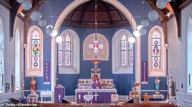 During an online Mass on Wednesday at a church in Donegal Father Pat suffered some technical difficulties when a rap song began playing over his opening blessing