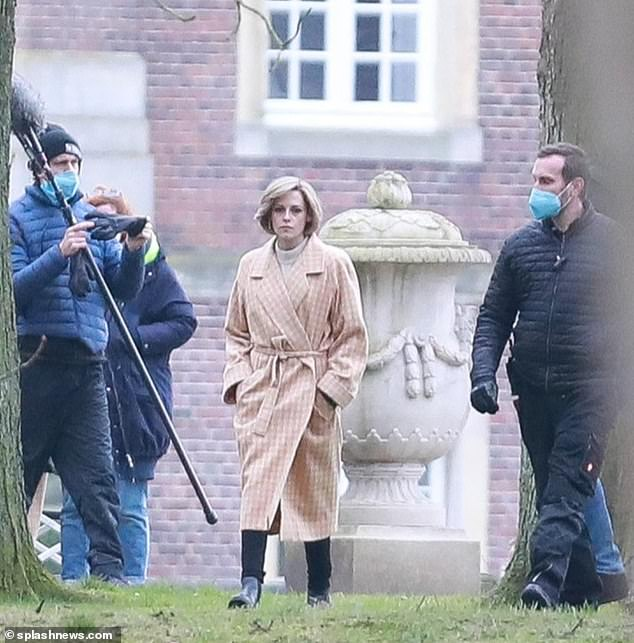 Action: Kristen Stewart transformed into the late Princess Diana as she was spotted on set of the new movie Spencer in Dülmen, Germany earlier this week