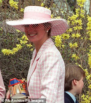 Stunning: Princess Diana pictured in 1991holding Easter eggs after attending Morning Service at St George's Chapel in Windsor Castle