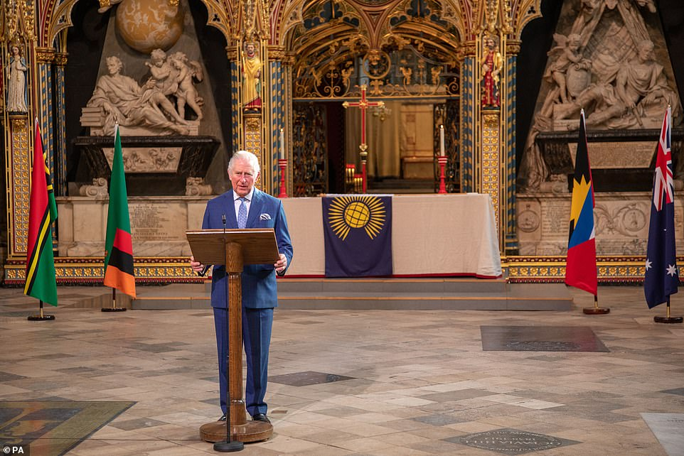 During the programme, Charles pays tribute to the 'extraordinary determination, courage and creativity' of the Commonwealth's people during the Covid crisis