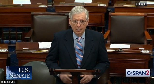 Republican Minority Leader Mitch McConnell on the Senate floor Saturday as the huge stimulus package was passed