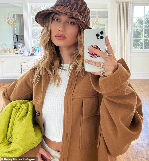 Setting the trend: Hailey Bieber, back in the US, took to her Instagram on Saturday to flaunt her unmistakable fashion sense to her 33.3 million followers
