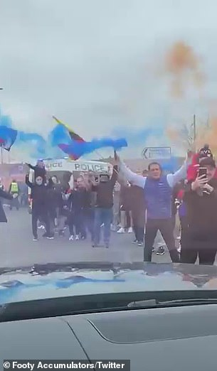Fans waved flags and let off flares in a party atmosphere on Saturday