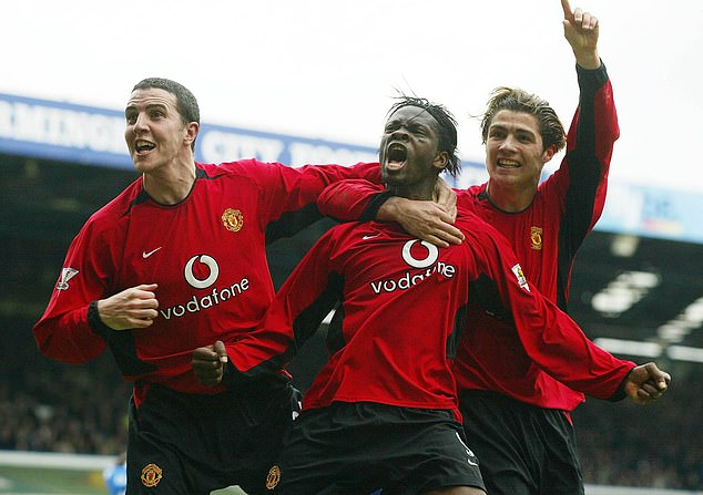Saha (centre) made 124 appearances for Manchester United as a striker and scored 42 goals
