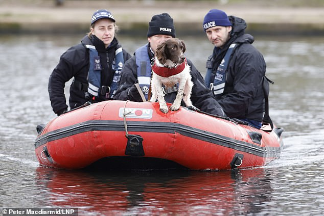 Sniffer dog joins search of pond on Clapham Common as investigation for Ms Everard goes on