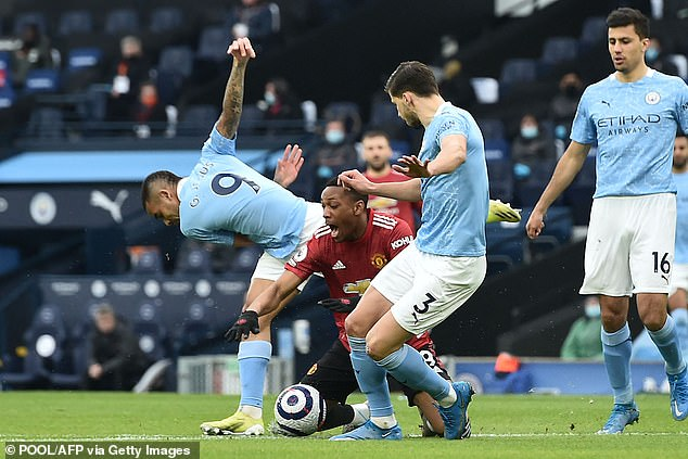 Gabriel Jesus clumsily gave away an immediate penalty in the Manchester derby on Sunday