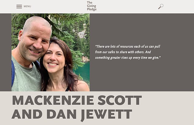 The couple first mentioned their marriage publicly on Saturday in a post on the Giving Pledge - a site where billionaires and millionaires vow to dedicate their wealth to others. Their joint page is pictured above