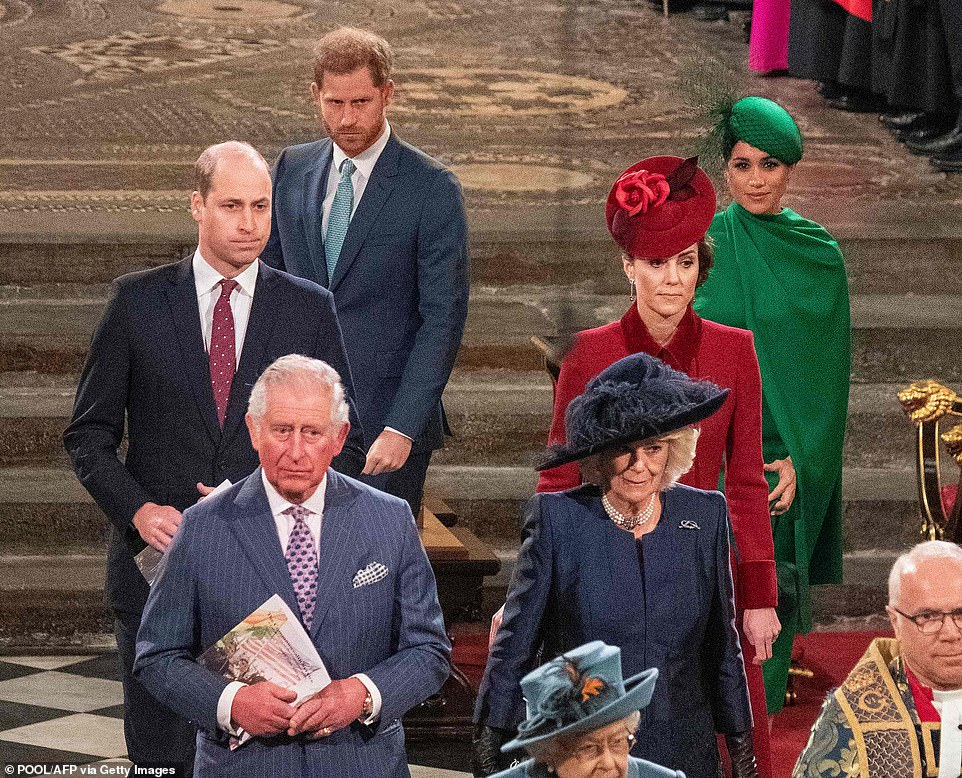 Harry confessed he felt 'let down' by his father but said he had 'huge compassion' for Prince Charles and his brother William because they were 'trapped within the system' of the monarchy. Pictured, the family together in March 2020 - around the time Harry was cut off financially