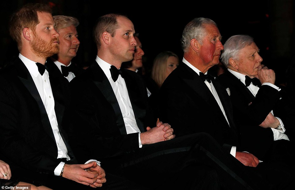 Prince Harry with his brother Prince William, father Prince Charles and Sir David Attenborough in 2019