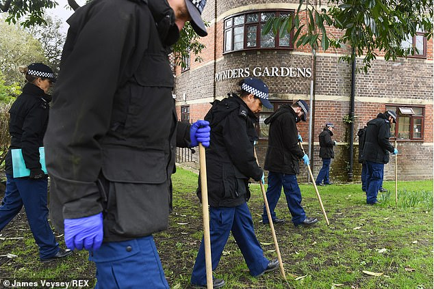 The search for Sarah Everard, 33, continues as officers from the Met are seen searching the grounds ofPoynders Gardens Estate, Clapham, on Monday - five days since she disappeared