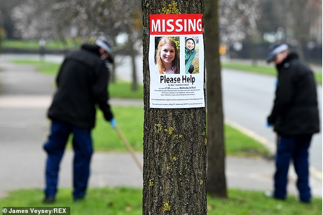 Police search for Sarah near Poynders Road, Clapham. A missing poster asks for help to find Sarah