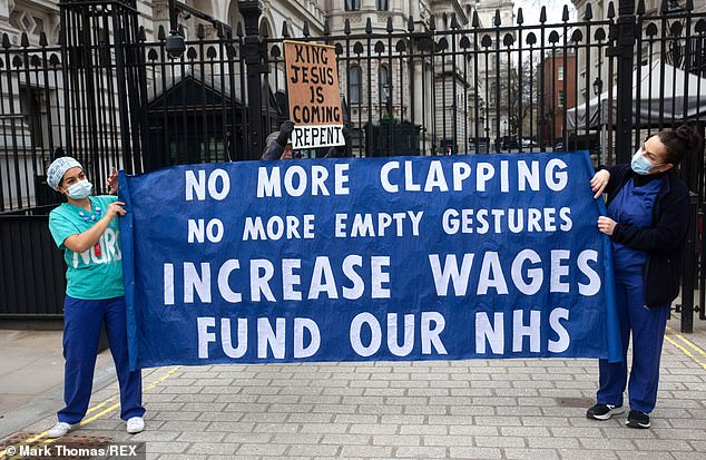 The offer sparked widespread condemnation and threats of strike action from nursing unions, coming after a year of backbreaking efforts to save lives from coronavirus.