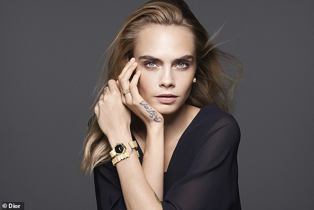 Strike a pose: she graced the catwalks of prestigious fashion brands around the world and Cara Delevingne presented her striking beauty on Monday for a new campaign with Dior.