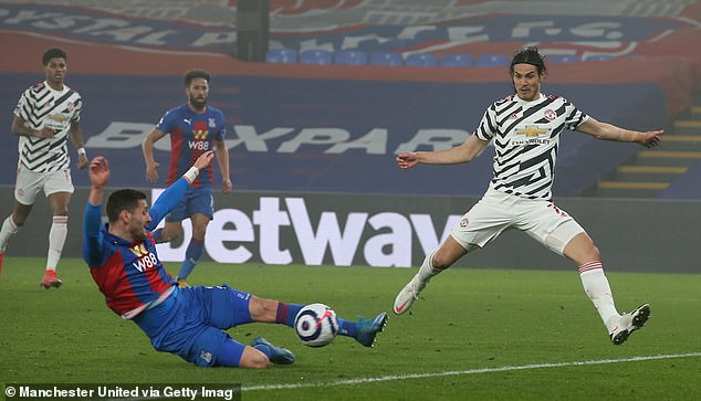 Cavani fails to get on the end of a cross during United's draw with Crystal Palace last week