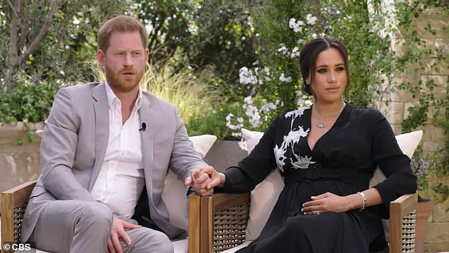 Pictured: Prince Harry (left) and Meghan Markle (right) in their sit-down with Oprah Winfrey, which aired in the U.S. on Sunday night and in Australia on Monday