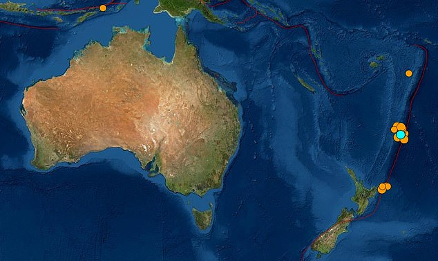 A 4.9 magnitude (pictured in blue) and a 6.6 magnitude earthquake were recorded off the east coast of New Zealand on Friday