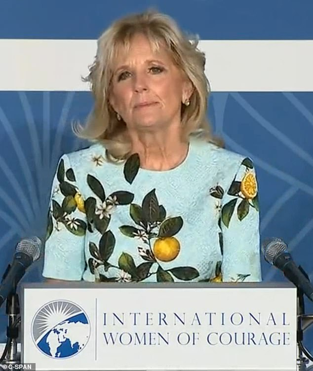 Jill Biden (pictured) appeared to be showing subtle support for Meghan Markle with her choice of dress worn on International Women's Day