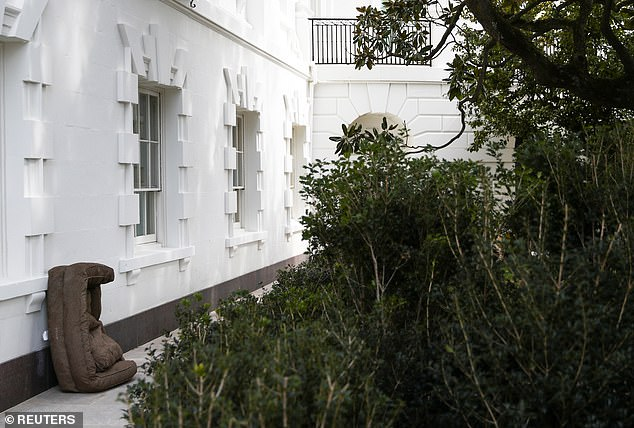 Randomly, a dog bed was seen leaning up against an outside wall of the West Wing on Tuesday morning with no explanation of whose it was or why it was there