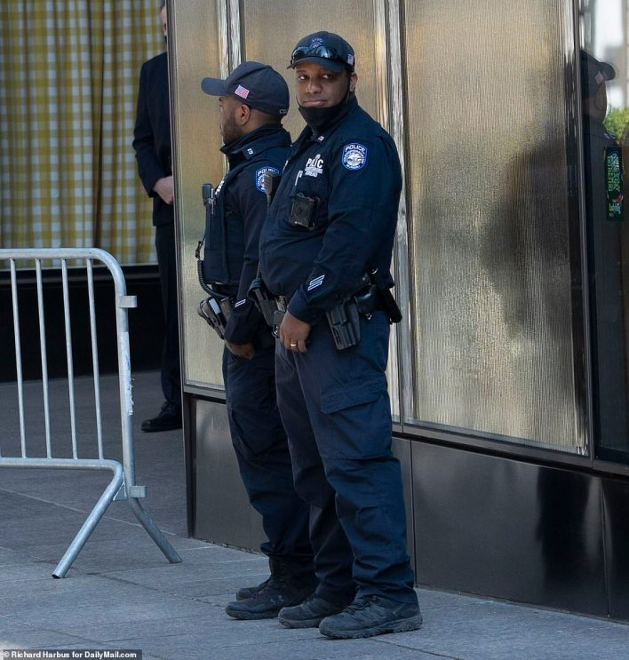 NYPD standing guard outside of Trump Tower ahead of his departure on Tuesday afternoon