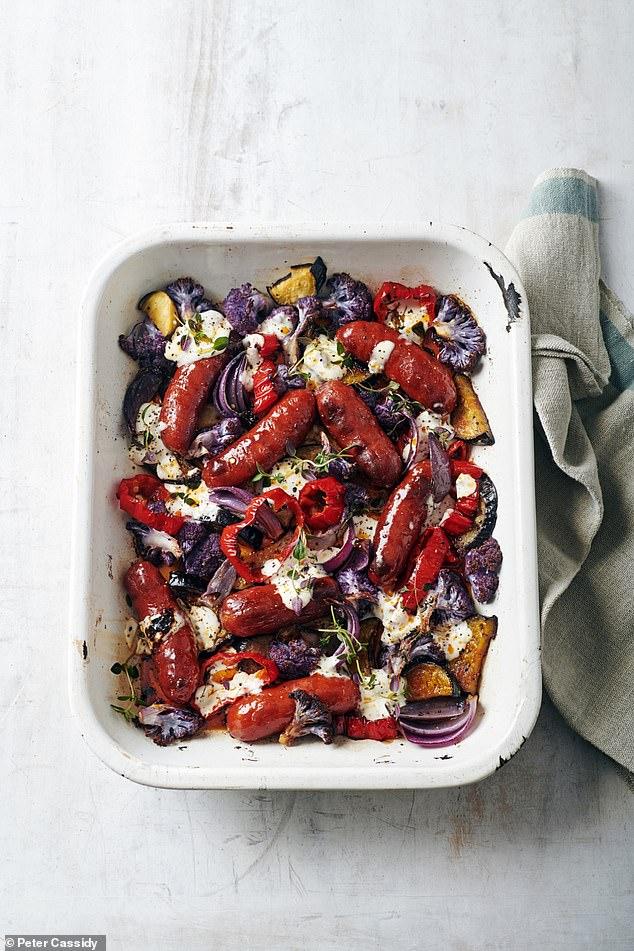 Chorizo sausages with roasted veg & garlic mayo
