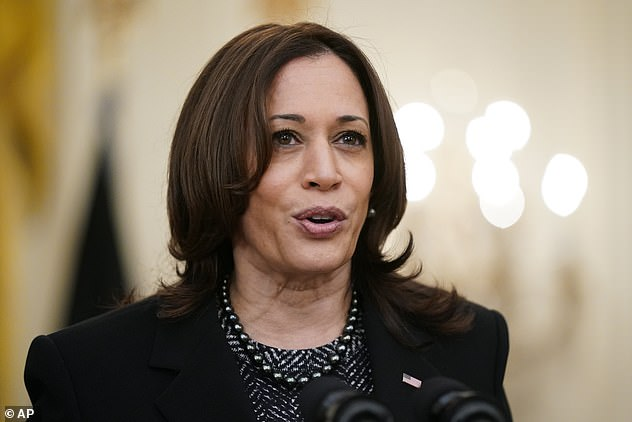 While Biden evades demands for a press conference, he has left some of the White House's foreign diplomacy to Vice President Harris (pictured) who yesterday spoke to Norway's PM