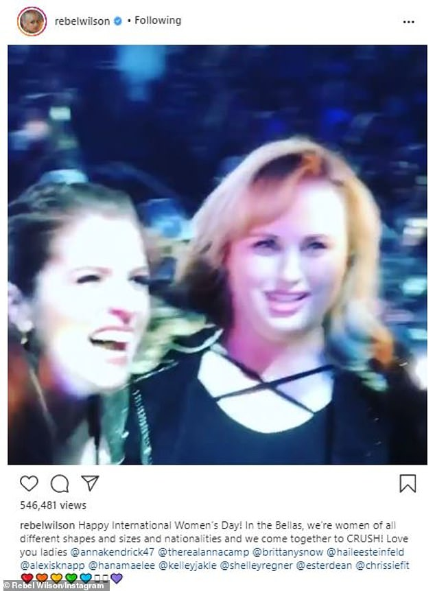 'Love you ladies!' In honor of International Women's Day on Monday, Rebel (born Melanie Bownds) shared behind-the-scenes footage from the set of Pitch Perfect 3
