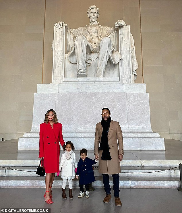 Inauguration performer: Chrissy is shown in January in Washington, DC with children Luna and Miles and husband John Legend who performed at the inauguration of President Joe Biden