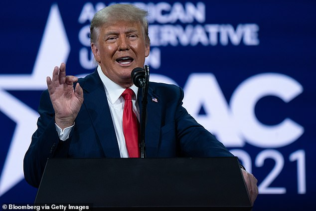 Donald Trump, pictured, sought to take credit for America's vaccine success after some of the available jabs were developed under his presidency