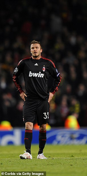 David Beckham suffered a heavy defeat on his return to Old Trafford, though he did come close to scoring