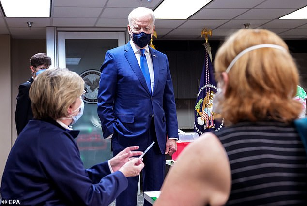 Joe Biden, pictured, is on track to reach his goal of vaccinating 100 million people in his first 100 days in office