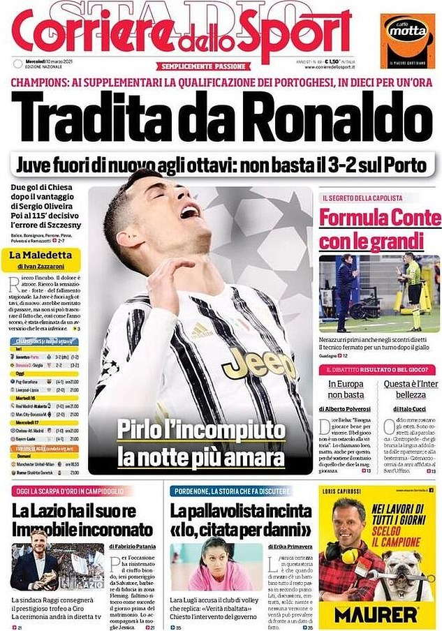 Corriere dello Sport used the headline 'Betrayed by Ronaldo' on Wednesday's front page