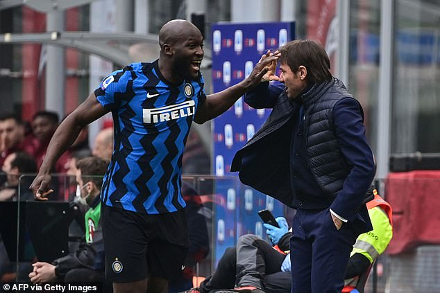 Antonio Conte (right) encouraged Lukaku and his team-mates to eat lots of bresaola meat
