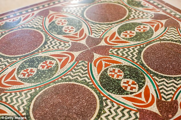 The 2,000-year-old, 5 sq. foot red, green and white pattern (pictured) was originally recovered from the bottom of Lake Nemi ¿ 19 miles south of Rome ¿ in 1929, at the behest of Mussolini