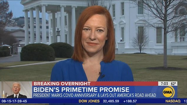 White House press secretary Jen Psaki appeared on 'Good Morning America' Friday morning and told George Stephanopoulos that 'the door to the Oval Office remains open' to Republicans who want to work with the Democratic president