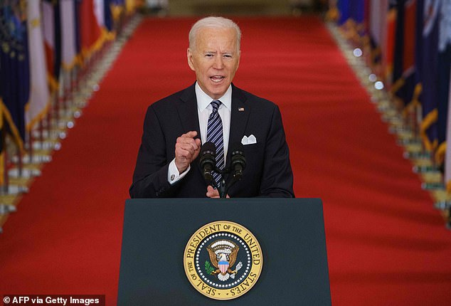President Joe Biden, seen delivering the first primetime speech of his presidency Thursday night, will celebrate the passage of the American Rescue Plan Friday afternoon in the White Hosue Rose Garden