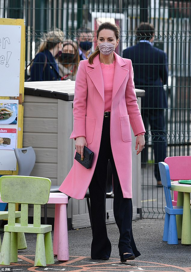 The Duchess of Cambridge (pictured in March) has worn a host of pink outfits since Prince Harry and Meghan Markle's bombshell Oprah interview to appear 'lovable and convey kindness', according to a psychologist
