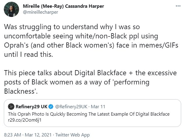 Tweets: The debate about whether sharing these comical memes is digital blackface has also reached Twitter,