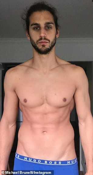 Change: MAFS star Michael Brunelli revealed his health and fitness transformation. In the image he looked lean and muscular (above) but admitted he not living a healthy lifestyle