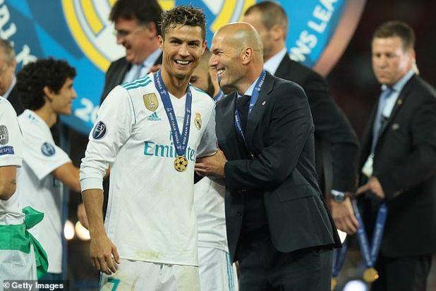 Madrid coach Zinedine Zidane (R) won three Champions League titles alongside Ronaldo (L)